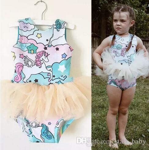 273b632b4664 2019 Unicorn Baby Girls Pegasus Romper Rainbow Printed Sleeveless Bubble  Skirts Summer Animal Tulle Jumpsuit Kids Backless TuTu Fashion Bodysuit From  ...