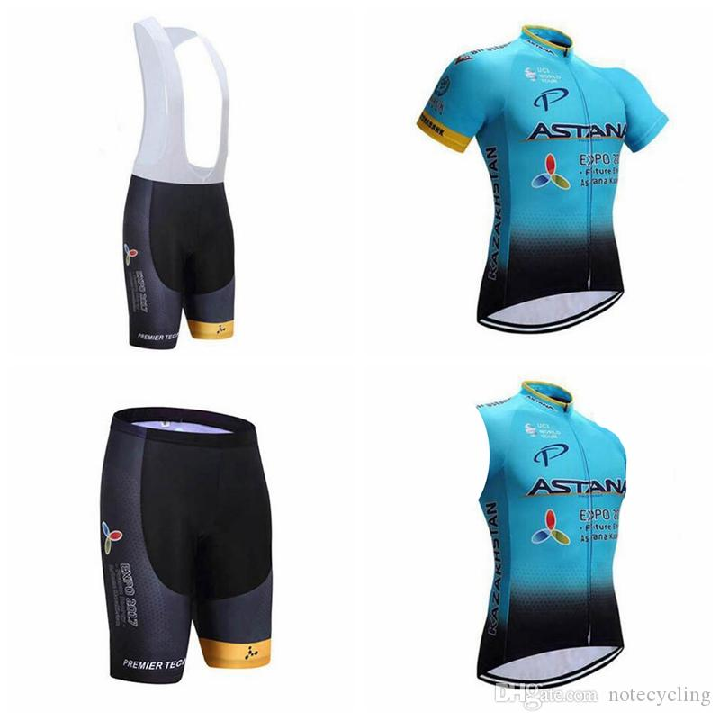 ASTANA Team Cycling Short Sleeves Jersey Bib Shorts Sleeveless Vest Sets  Top Sales Ropa Ciclismo Hombre Mtb Jersey A41308 Cycling Suit Mountain Bike  Pants ... b3f580d17