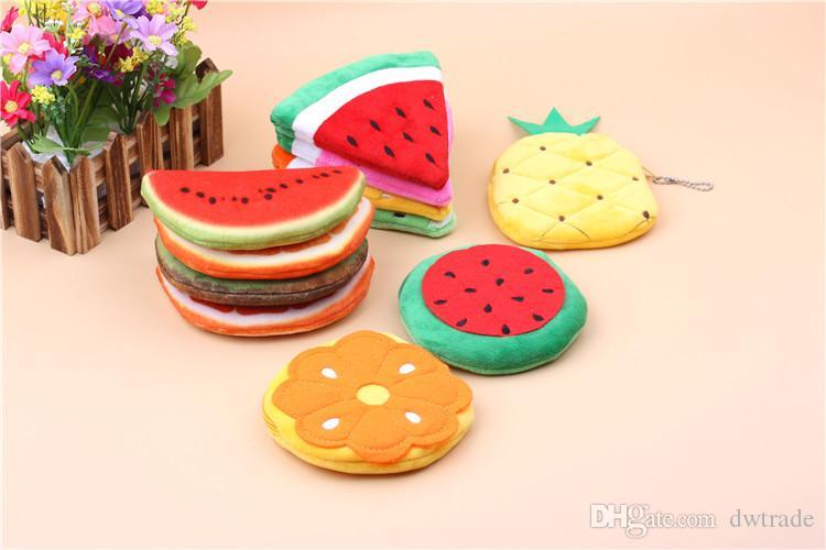 Kinder Flusen Fruchtform 3D Gedruckt Geldbörsen Brieftasche Beutel Fall Wassermelone Orange Taschen Cartoon Handtasche für Kinder Geschenke