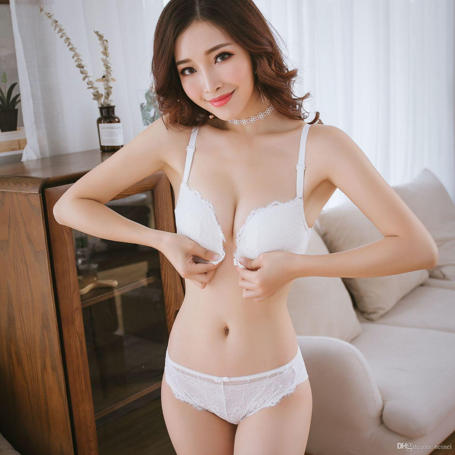 7f6dfeff5fbd9 2019 Sexy Women Bra Set Seamless Bra Front Closure Lace Push Up Bra Panties  Fashion Young Girls Lingerie Suits Wireless Intimates From Neinei
