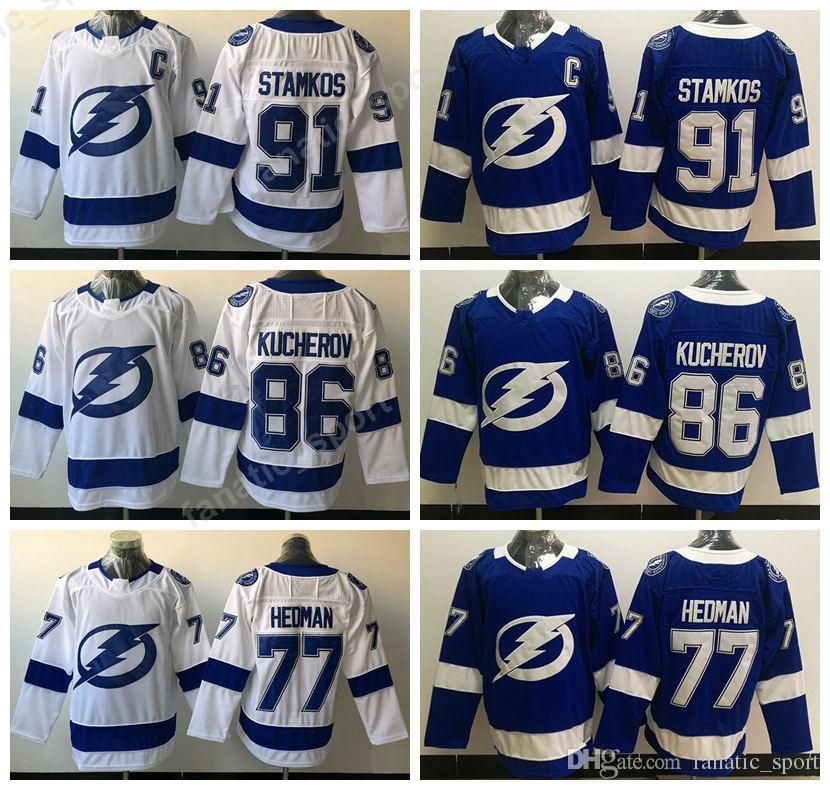 2018 2018 Men Sports 77 Victor Hedman Jerseys Tampa Bay Lightning Ice  Hockey 91 Steven Stamkos 86 Nikita Kucherov Jersey All Stitched Blue White  From ... 3c0eba964