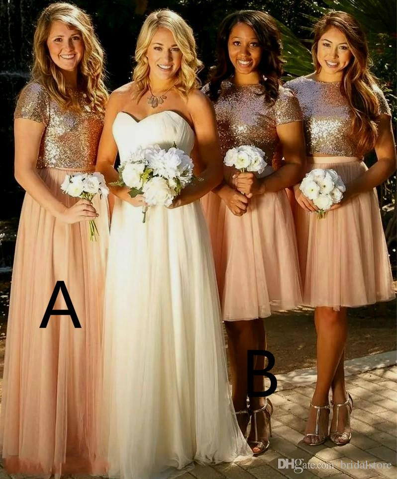 af89d769cc5 Best Rose Gold Sequins Two Piece Bridesmaid Dresses Country Short Sleeve  Knee Length Tulle Maid Of Honor Wedding Guest Gown Plus Size 2019 Bridesmaid  ...