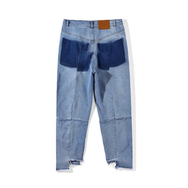 18ss Rasgado Jeans Melhor Versão Mulheres Homens Jeans calças macacão urban hip hop punk motocicleta azul angustiado