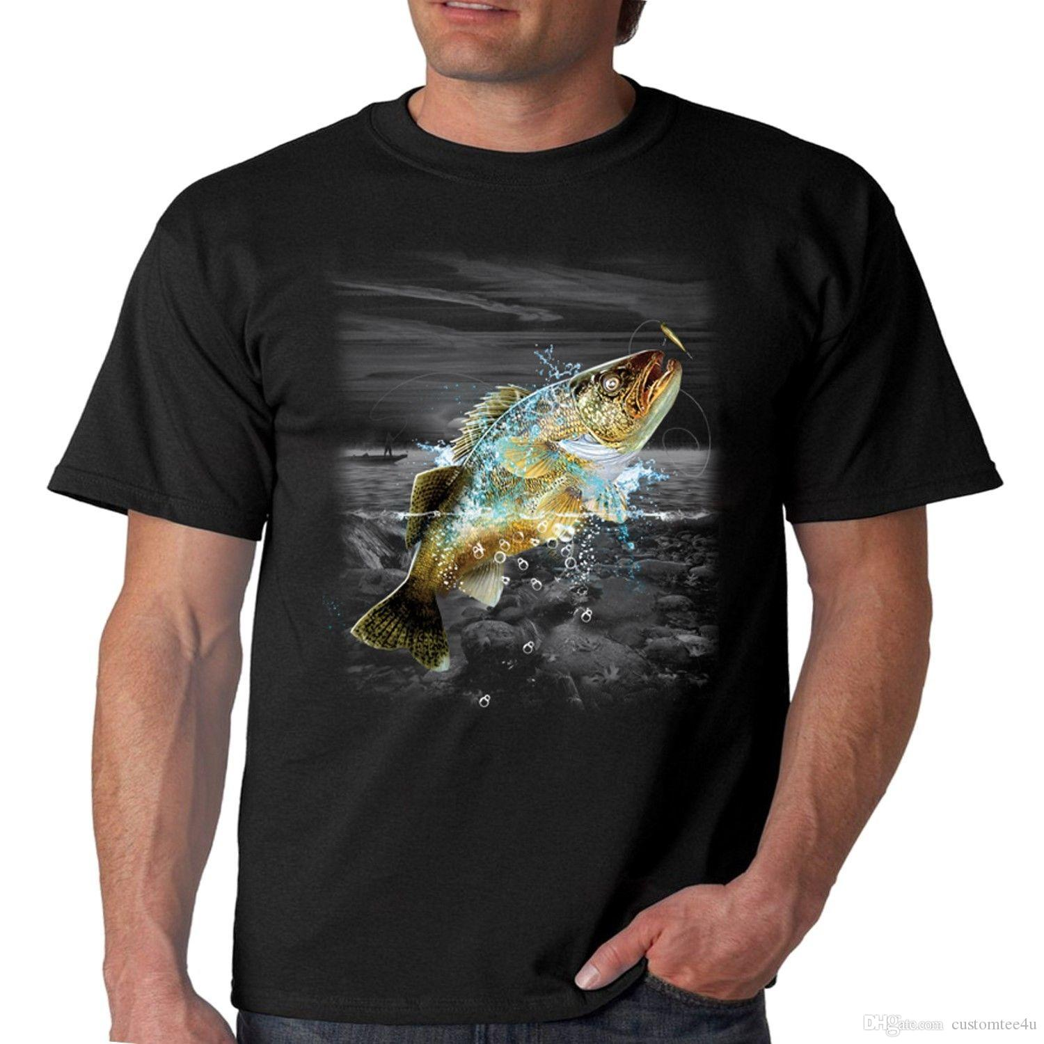 Grosshandel Angeln T Shirt Walleye Wilderness T Shirt Fur Manner