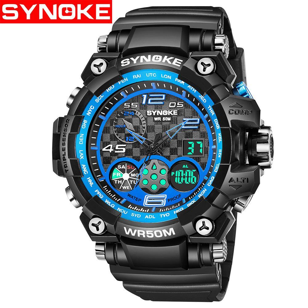Synoke Hommes Cadeau D Anniversaire Sport Montres Hommes Chronographe Quartz Numérique Analogique Horloge Homme Montre Bracelet Relogio Masculino