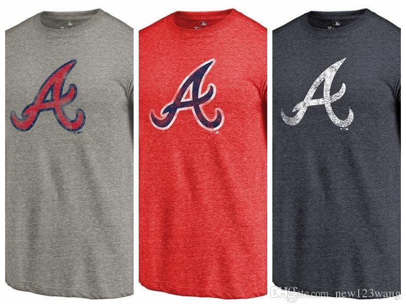 Men's T-Shirt Atlanta Braves Fanatics Branded Team Tri-Blend short sleeves  T-Shirt color Red Heathered Navy