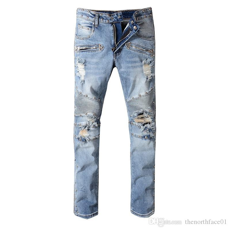Balmain New Fashion Ripped men jeans frayed male destroyed Slim biker jeanscasual skinny pants washed bule color swag overalls trousers