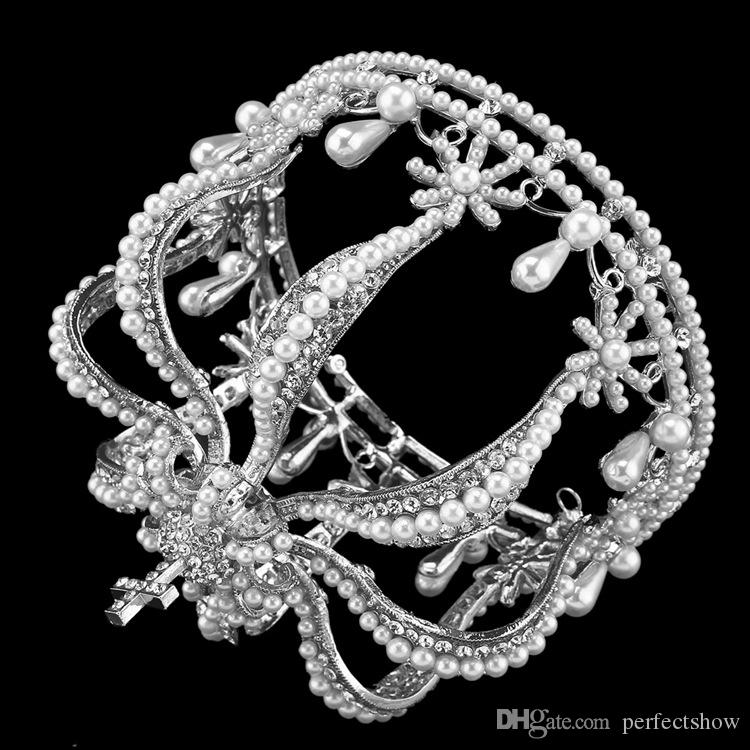 Vintage Pearls Tiaras For Special Occasion 2018 Cheap Rhinestones Wedding Hair Accessories Bridal Pageant Round Crowns Wholesale