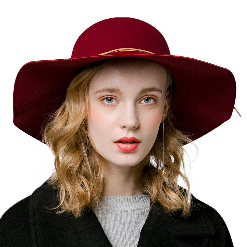 2018 New Vintage Hat Women's Wide Brim Wool Felt Dome Fedora Hat Floppy Sun Bowknot Cloche Cap Women's Large M42