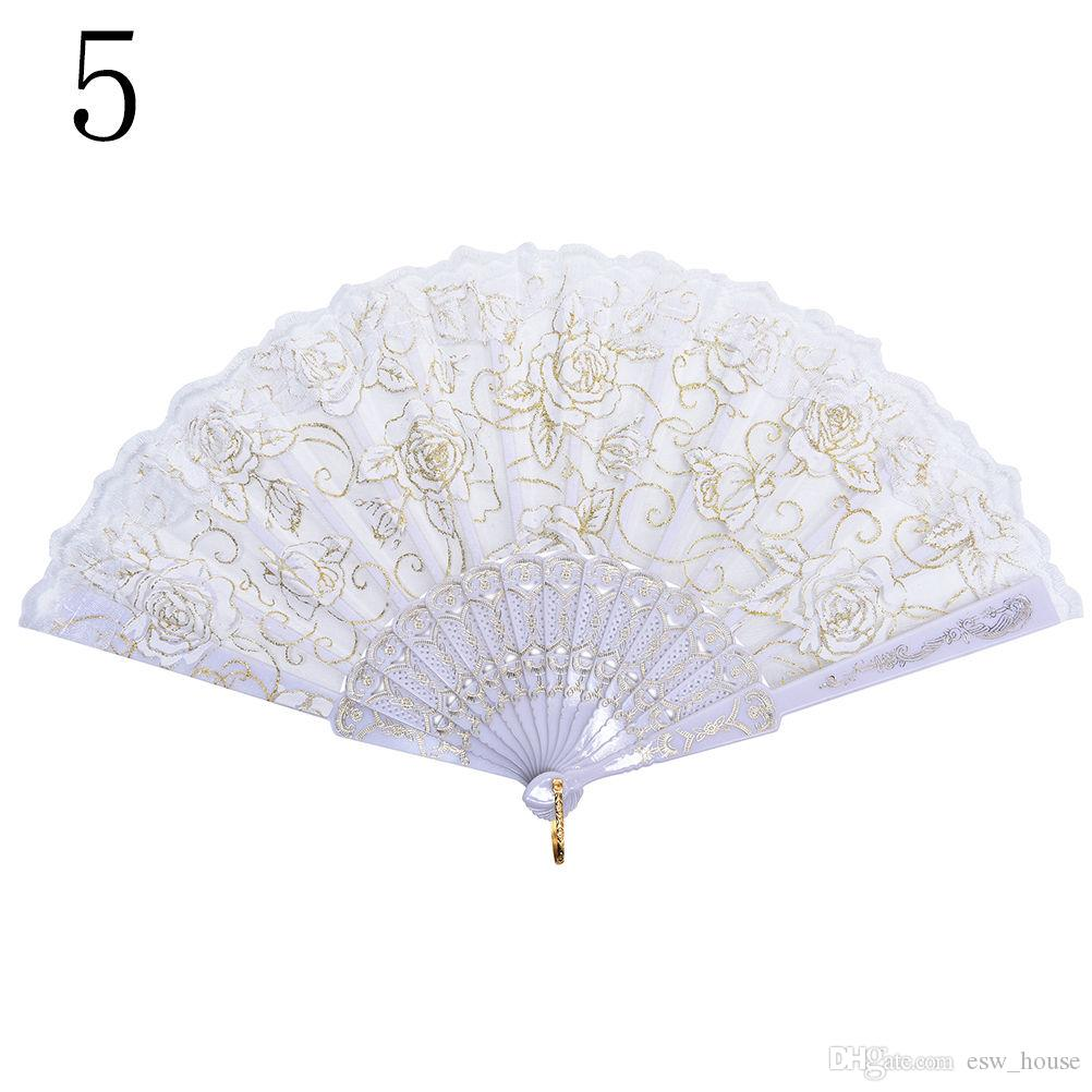 New Lace Spanish Fabric Silk Folding Hand Held Dance Fans Flower Party Wedding Prom Dancing Summer Fan Accessories