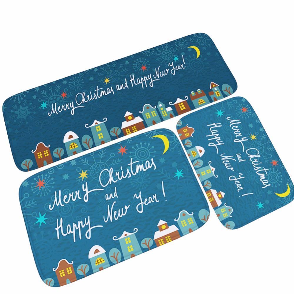 40*60cm Christmas Decoration Gifts Print Bath Mats Soft Water ...