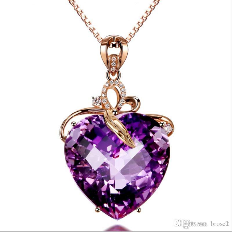 Wholesale luxury heart shaped amethyst pendant 18k gold color wholesale luxury heart shaped amethyst pendant 18k gold color amethyst natural amethyst necklace female necklace charm bracelets from brose1 222 dhgate mozeypictures Gallery