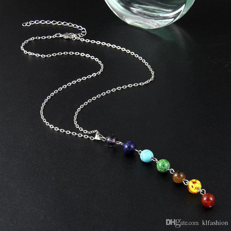 الفضة اللون بسيط نمط 7 شقرا متعدد الألوان الحجر الطبيعي الخرز قلادة قلادة سلسلة طويلة للنساء سحر كولير collares اليوغا مجوهرات