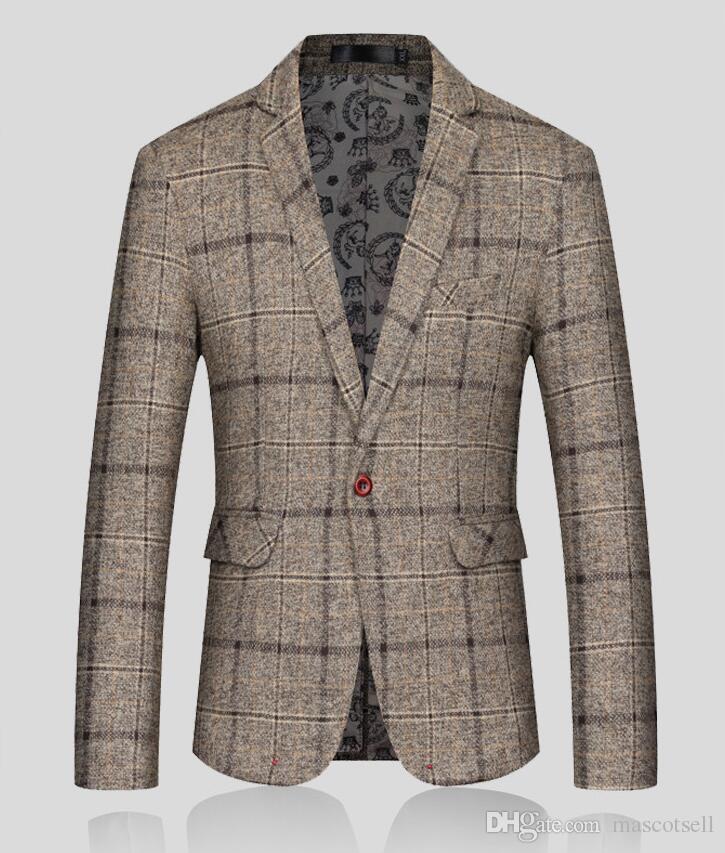 Acquista 2018 Moda Uomo Blazer Jacket Uomo Plaid Panno Di Lana Slim Fit  Suit Cappotto Maschio Design Coreano Casual Fitted Giacca Giacche Uomo A   34.52 Dal ... b77bc5a7c91