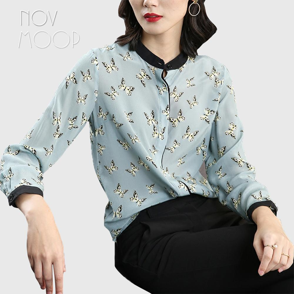deee95695cd5cb 2019 Office Style Ladies Pure Natural Silk Tops And Blouses Butterfly Print Light  Blue Silk Shirt Roupa Camisa Blusa Feminina LT1973 From Roberr