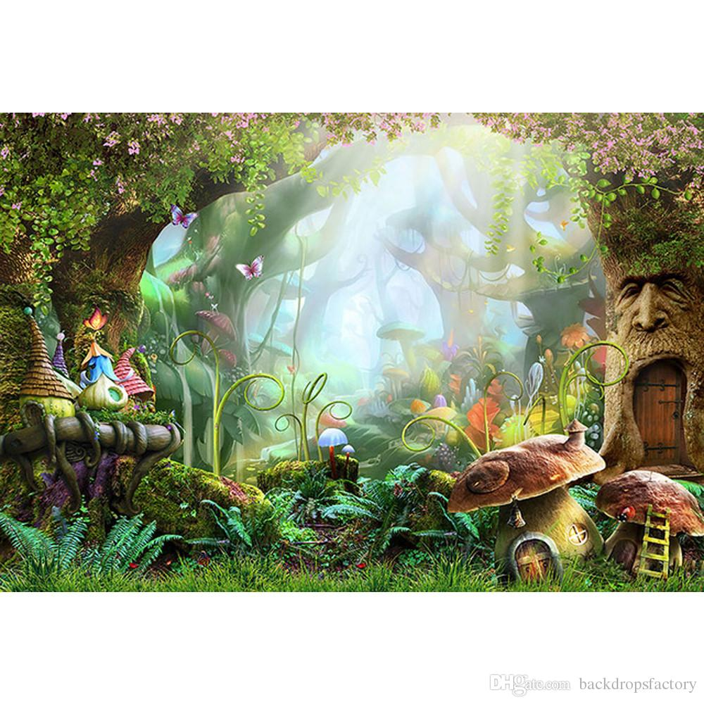 aed3f57f014 2019 Fairy Tale Wonderland Enchanted Forest Background Photography  Mushrooms Old Trees Butterflies Baby Girl Birthday Party Photo Booth  Backdrop From ...