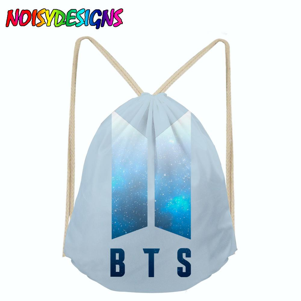 5e4533b6a6 2019 Kpop BTS Bangtan Boys Canvas Drawstring Backpack Women Fashion  Cosmetic Container Casual Beach Bag Shoes Pouch Drop Shipping From Drdre