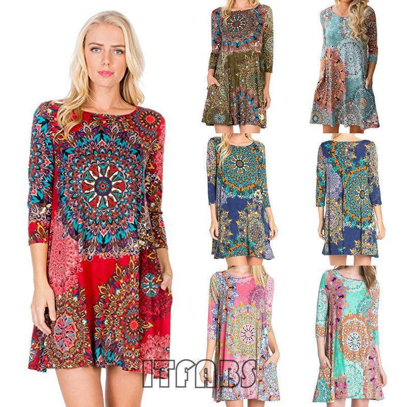 Women Dress Boho Floral Chiffon Summer Casual Beach Short Mini Dress  Seven-quarter Sleeve Pocket National Style Print Sundress Online with   38.2 Piece on ... c9a328326