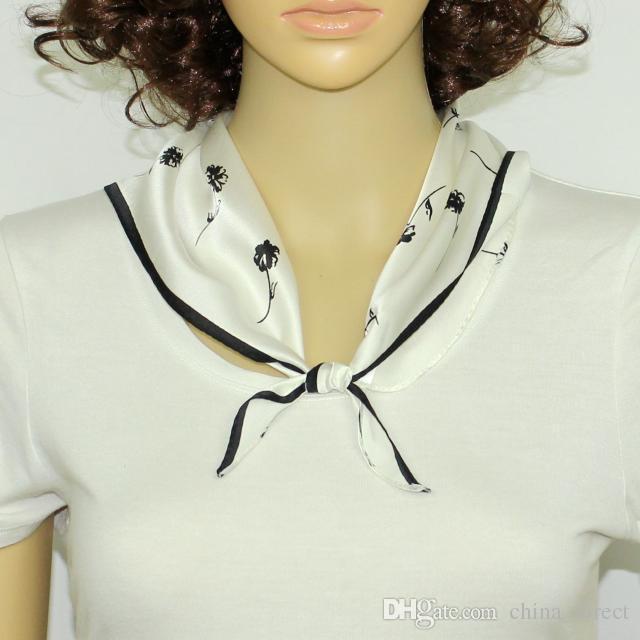 100% Mulberry Silk Dreieck Schal Taschentuch Mehrzweck Damen Handtasche Schal Hand Haar Accessorry Stirnband/ # 4071
