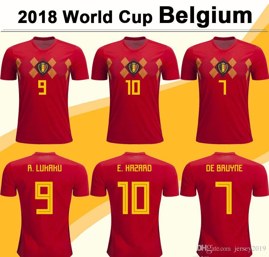 829995ce723 2018 World Cup Belgium Soccer Jersey LUKAKU DE BRUYNE HAZARD Home Red Football  Shirts MEUNIER National Team Short Jerseys Mens Uniforms
