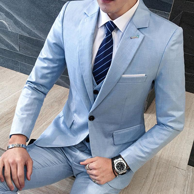 Tailor Made Light Blue Wedding Suits For Men Slim Fit Formal Groom ...