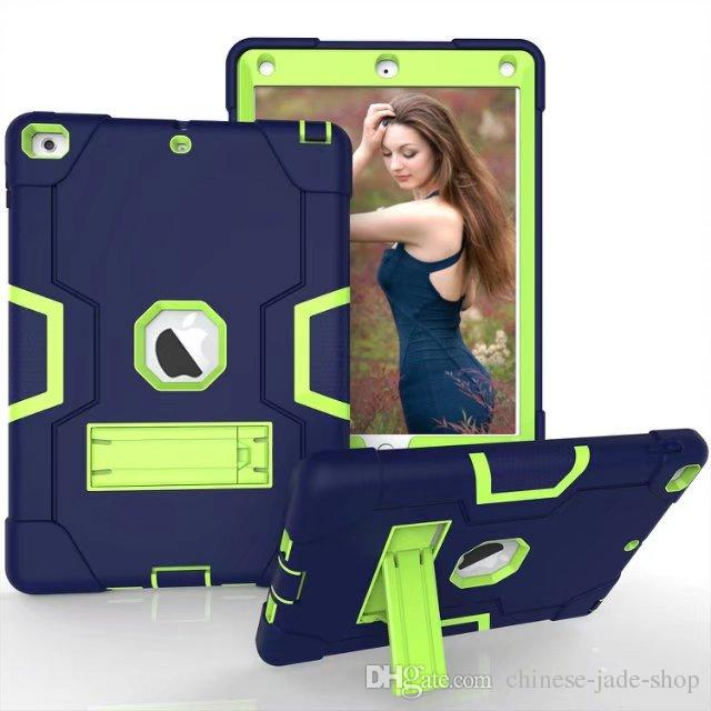 B type PC+ SILICONE Heavy Duty Shockproof Kickstand Hybrid Robot Case Cover for iPad pro 9.7 air air 2 Ipad 9.7 2017 2018