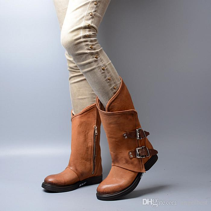 2018 hot buckles half boots women real leather black brown coffee low heel knight boots winter autumn shoes fashion motorcycle western boots