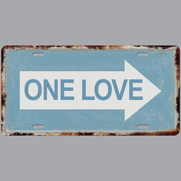 One Love Car Plates Number USA License Plate Garage Plaque Metal Tin Sign Bar Decoration Vintage Home Decor