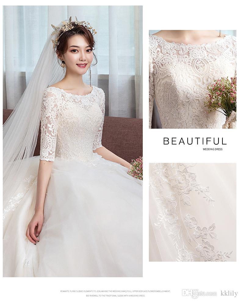 e6395dcf929be Light wedding dress 2018 new Hepburn style bride shoulder long sleeve  simple princess dream tail slimming