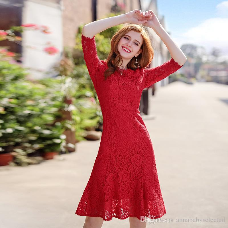 Großhandel 2018 Frühling Neue Stil Frauen Rote Spitze Kleid Süße ...