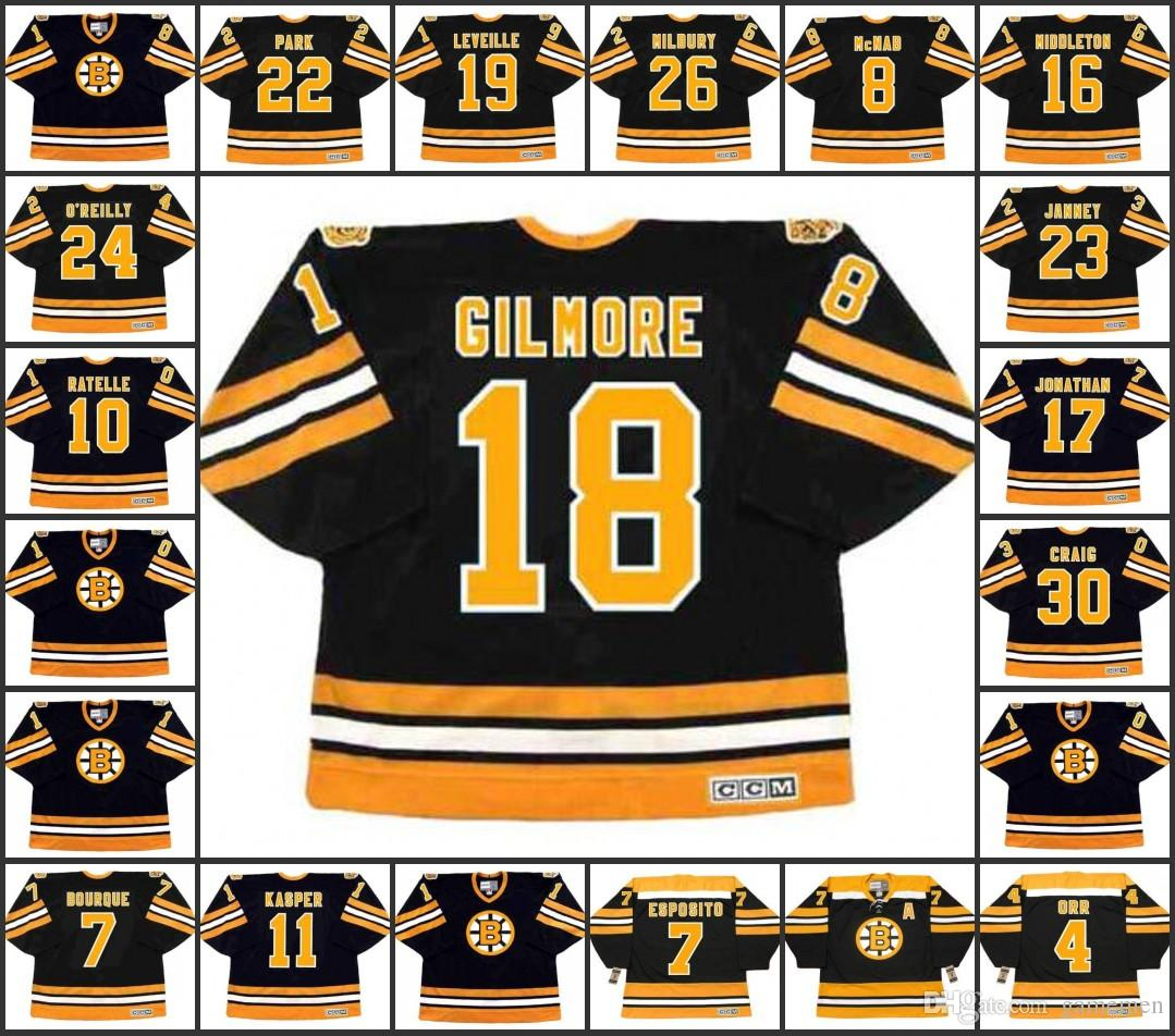 Men S  18 HAPPY GILMORE Boston Bruins 19 NORMAND LEVEILLE 22 BRAD PARK 26  MIKE MILBURY 23 CRAIG JANNEY CCM Vintage Black Ice Hockey Jersey UK 2019  From ... e9b286f9c