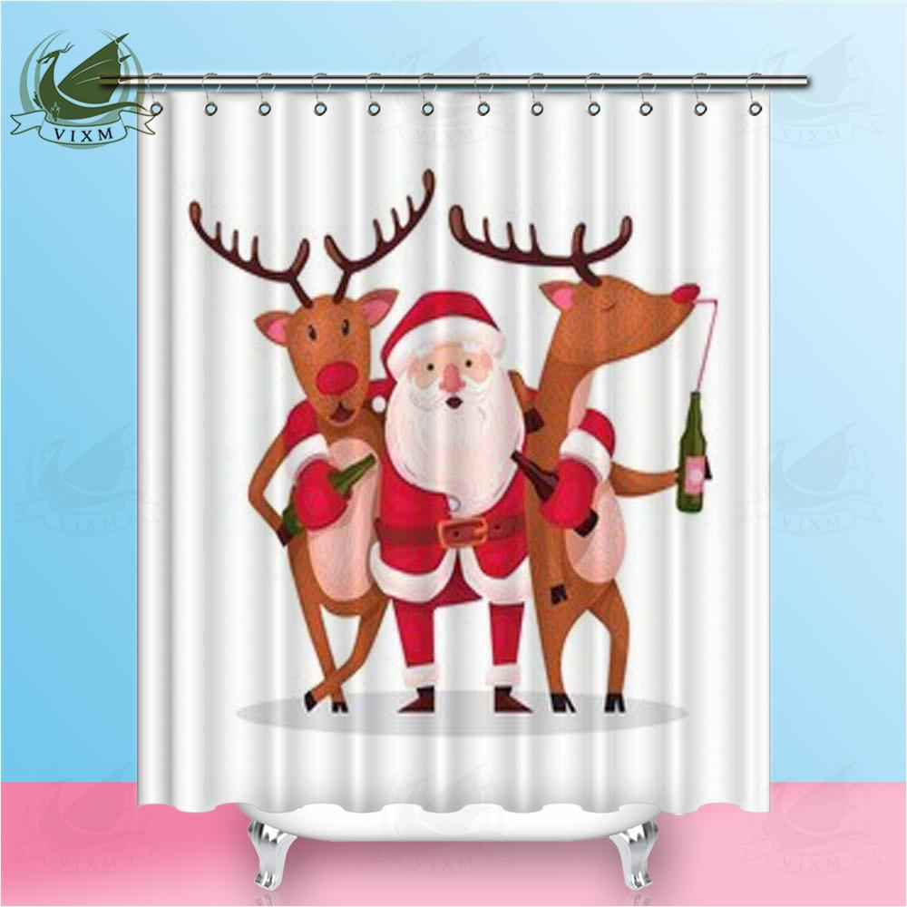 2019 Vixm Home Very Drunk Santa Claus Fabric Shower Curtain Hugging Crazy Deer Bath For Bathroom With Hook Rings 72 X From Bestory