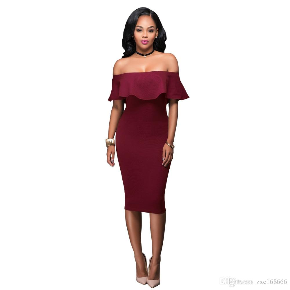 2018 Summer Royal Blue Off The Shoulder Midi Bodycon Dress Sexy Ruffles Strapless African Women Celebrity Party Dresses