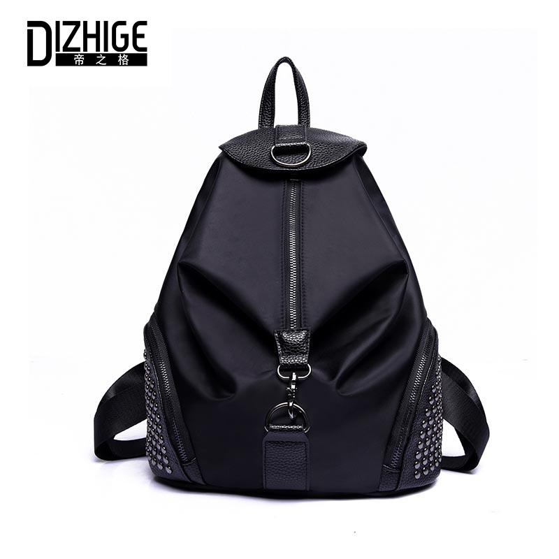 230447b54655 DIZHIGE Brand Nylon Backpack Women Vintage School Bags For Girls Fashion  Elegant Black Zipper Rivet Bags For Women 2018 New Backpacks For Teens  Cheap ...