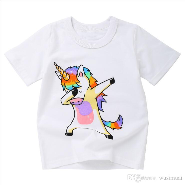 96f918aace 2019 Wholesale Cute Animal Print Colorful Baby Kids Clothes Short Sleeve  Pullover Summer T Shirt For Children S Day Gift From Wusimuai