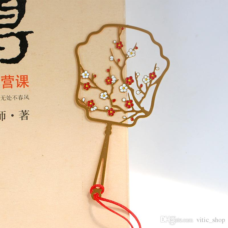 2019 Chinese Classic Metal Bookmark Plants Birthday Gifts Hooks Brass Flower Round Fan Marker For Books Wedding Favor Souvenier From