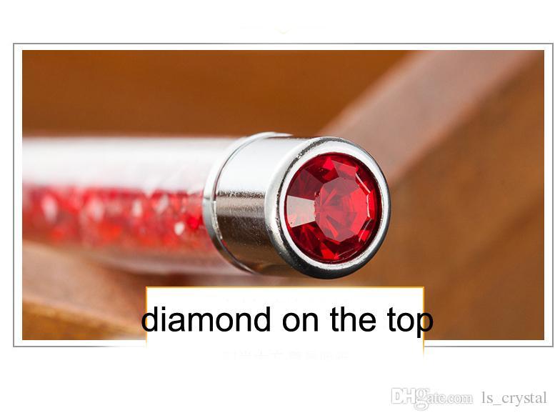 أزياء بلينغ حجر الراين الكرة القلم قلم حبر جاف كريستال الماس على رأس الأقلام هدية الحبر الأسود WJ002
