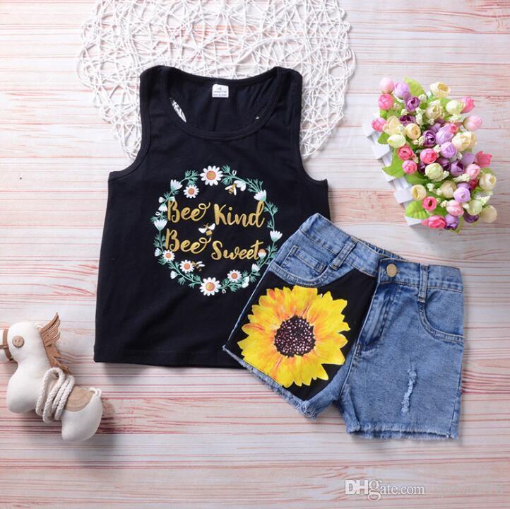 abdd81ca7a3a3 2018 Ins Summer Girls Clothes Sets Outfits Sunflower Letters Tank Tops Vest  Jeans Denim Shorts 2pcs Set Clothing Suit 3912