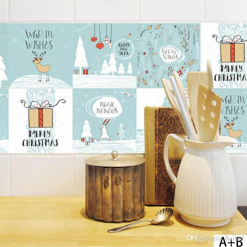 100 * 20 cm Retro Fliesen Wandaufkleber für Badezimmer Küche Dekoration  Adhesive Wasserdichte PVC Wandaufkleber Küche Taille Linie Weihnachten