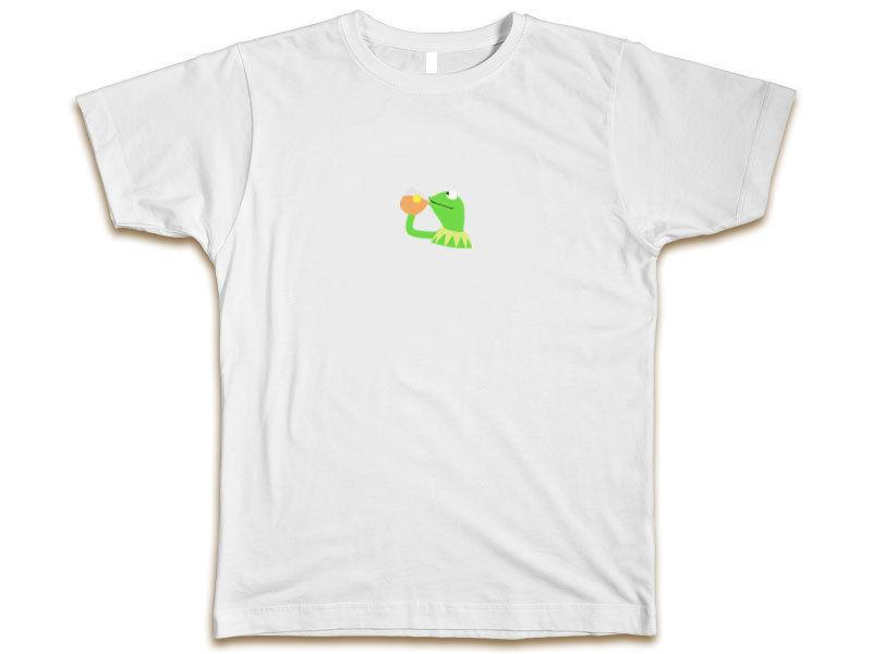 None Of My Business Kermit Custom T Shirt Sipping Tea Emoji New Mens