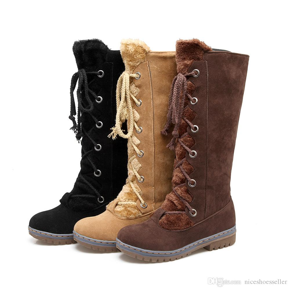 b92bd2d1682f Lace Up Women Snow Shoes 2019 Winter Ladies Super Warm Boots Plush Mid Calf  Boots Flat Female Round Toe Boots ADF 0528 Rubber Boots Ski Boots From ...