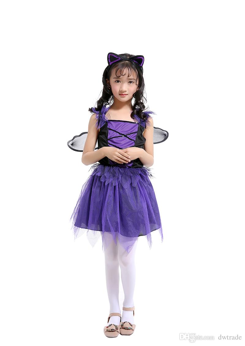Purple Bat Fairy Long Princess Dress Suits with Ear Headband and Black Wing Girls Performance Dresses Xmas Dress Halloween Costume