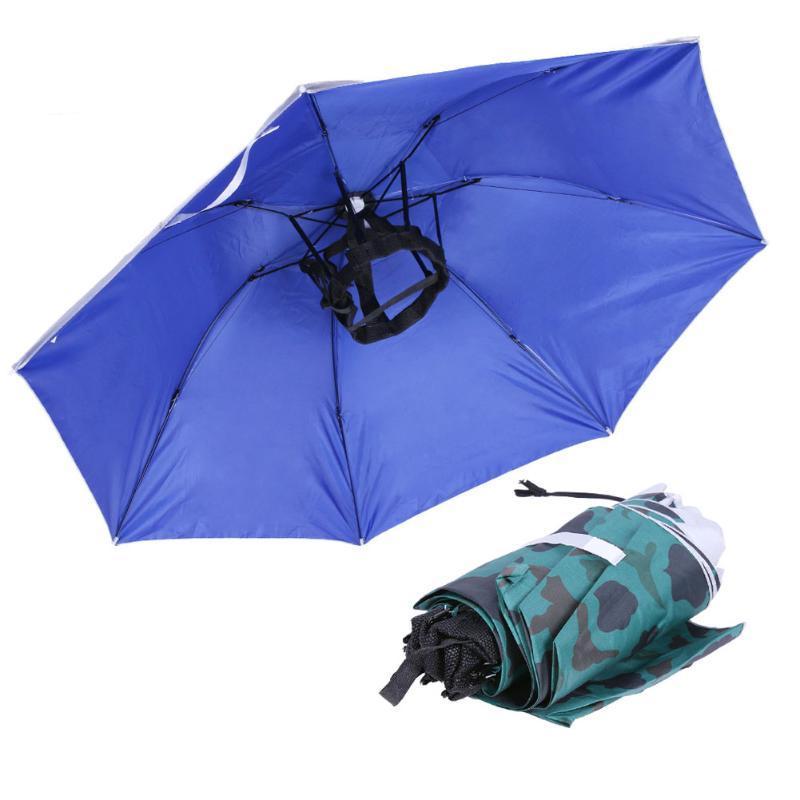 c00c3d448f365 2019 Universal Head Umbrella Hat Large Fishing Caps Anti Uv Anti Rain  Outdoor Travel Fishing Umbrella Portable Sports Pesca Cap From Sport2017