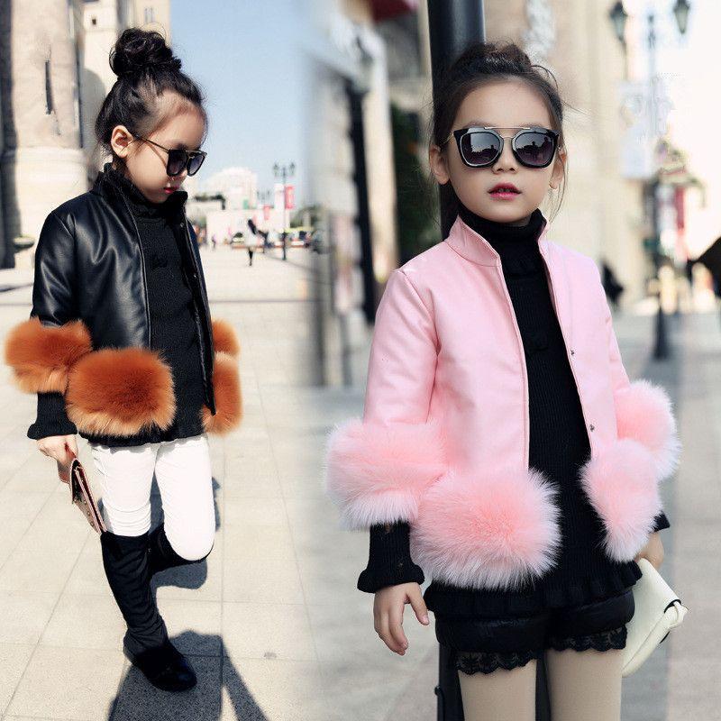 2018 New Design Girls Autumn Winter Jackets Pu Faux Leather Fur Coat