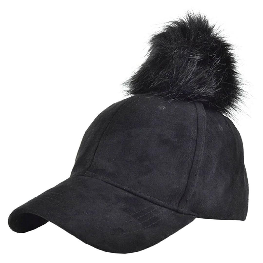 ab0974f67d9 Women Pompom Ball Faux Suede Adjustable Baseball Cap Hip Hop Hat Custom Baseball  Hats Army Hats From Heheda1