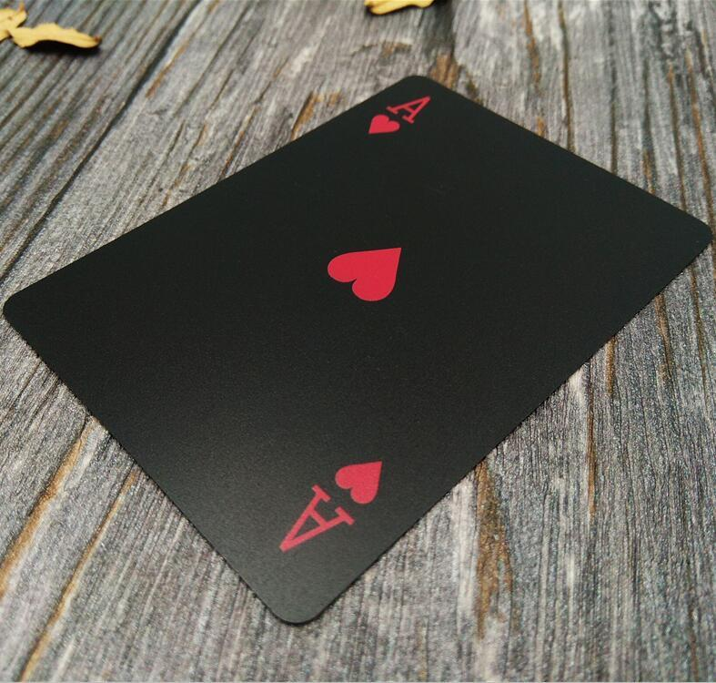 Red black Waterproof Durable PVC Scrub Type Plastic Playing Cards with retro back stripe Novelty Texas poker game Poker Cards