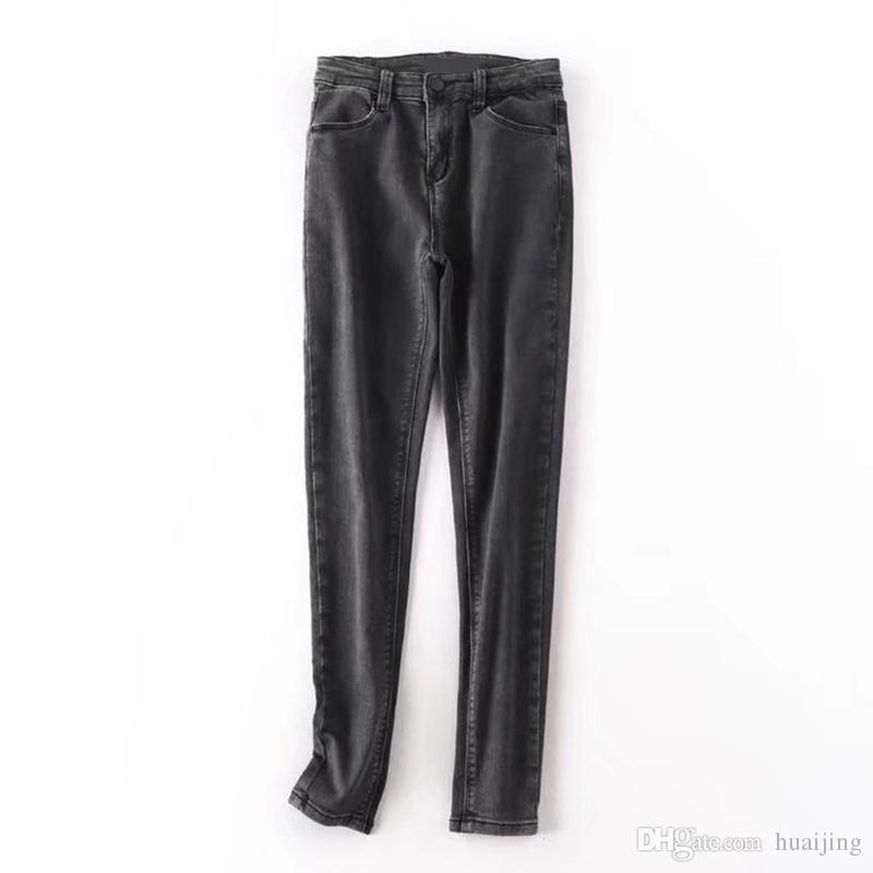 7b8c609dff 2019 Grey Autumn Sexy Stretch Skinny Jeans Women 2017 Fall Slim Denim  Pencil Pants Black Elastic Trousers Ladies From Huaijing, $49.77 |  DHgate.Com