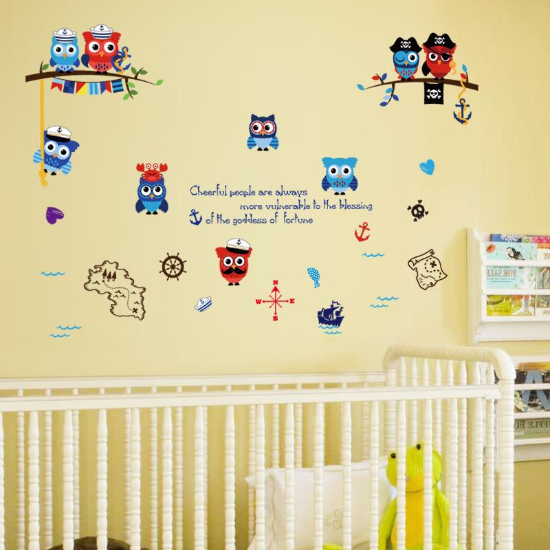 Diy Pirate Wall Decals Pvc Cartoon Owl Wall Art Stickers For Kids