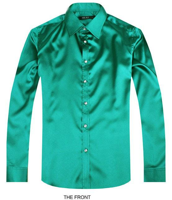 2017 color Green Luxury groom shirt male long sleeve wedding shirt men's party Artificial silk dress M-3XL 21 colors FZS25