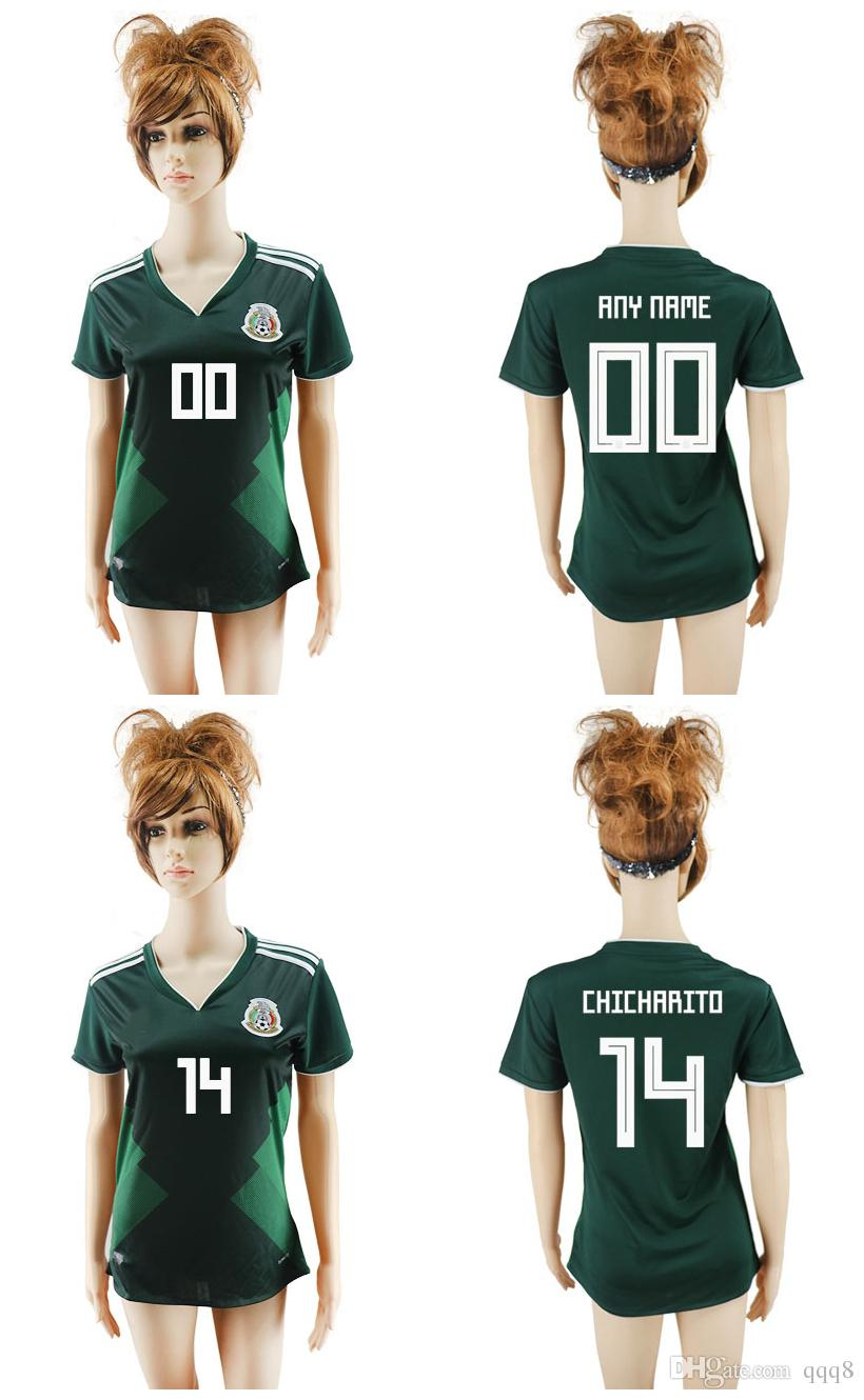 best service bd7e0 14608 2018 world cup women Mexico National Team Jersey Mexico Home Green girl  Soccer Jerseys 2018 world cup #14 CHICHARITO female Football Shirt